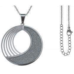 Collier acier - diamètre 4cm - satiné - 45+5cm