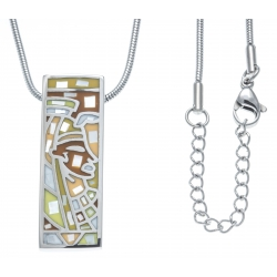 Collier en acier - nacre - émail - pharaon - 45+5cm