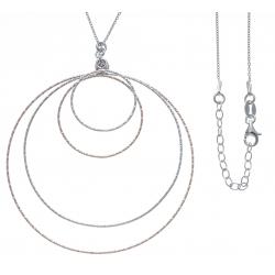 Collier argent rhodié 5,6g - 2 tons - rosé et rhodié - 4 ronds - diamètre MAX 6