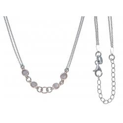 Collier argent rhodié 3,7g - 2 tons - rosé et rhodié - 2 chaines - 40+5cm