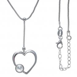Collier argent rhodié 3,6g - cœur - cristal de swarovski - fil pendant 3cm - 40+