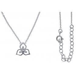 Collier argent rhodié 2,7g - zircons - triskel - 40+5cm