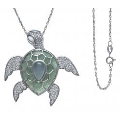Collier argent rhodié 11g - tortue - zircons -  agate - amazonite - 60cm