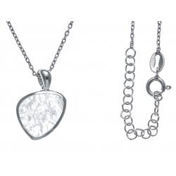 Collier argent rhodié 3,3g - quartz - cristal de roche - 38+5cm