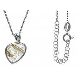 Collier argent rhodié 3,3g - quartz rutilé - 38+5cm