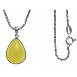 Collier argent rhodié 4,1g - serpentine citron vert - 45cm