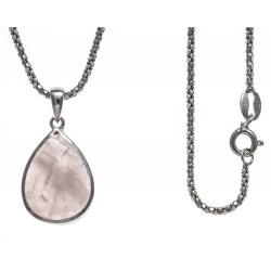 Collier argent rhodié 4,1g - quartz rose - 45cm