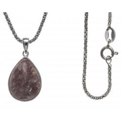 Collier argent rhodié 4,1g - jaspe rouge - 45cm