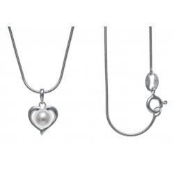 Collier argent rhodié 3,8g - cœur - perle de culture véritable - 40cm