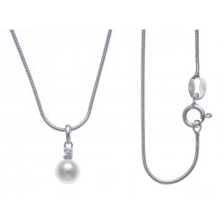 Collier argent rhodié 3,3g - zircon - perle de culture véritable - 40cm