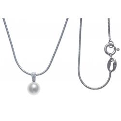 Collier argent rhodié 3,2g - perle de culture véritable 5x10mm - zircons - 40cm