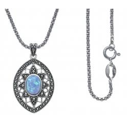 Collier argent rhodié 6,5g - marcassites - opale bleue synthéthique - 45cm