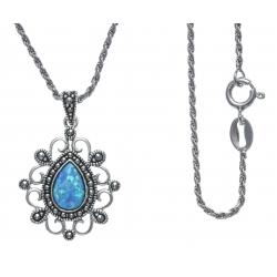 Collier argent rhodié 5,8g - marcassites - opale bleue synthéthique - 45cm