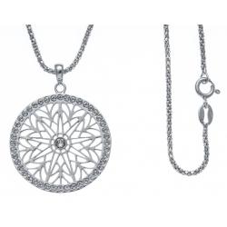 Collier argent rhodié 7,6g - zircons - diamètre 3cm - 45cm