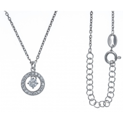 Collier argent rhodie 3,3g - zircons - 38+5cm