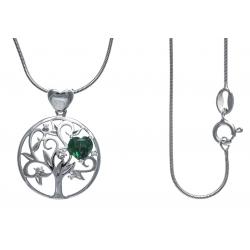Collier argent rhodié 5,2g - arbre de vie - cœurs - zircons - émeraude synthéti
