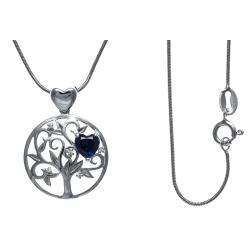 Collier argent rhodié 5,2g - arbre de vie - cœurs - zircons - saphir synthétiqu