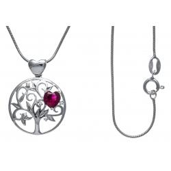 Collier argent rhodié 5,2g - arbre de vie - cœurs - zircons - rubis synthétique