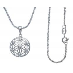 Collier argent rhodié 4g - zircons - 40cm