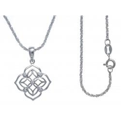 Collier argent rhodié 3,5g - zircons - 40cm