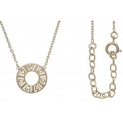 Collier plaqué or - cercle 1,3cm - motif indien - 40+5cm