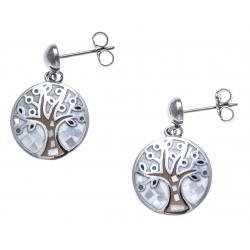 Boucles d'oreille acier - nacre - email - arbre de vie