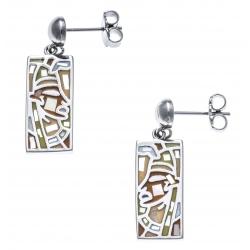 Boucles d'oreille acier - nacre - email - pharaon