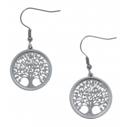 Boucles d'oreille acier - arbre de vie - satiné - diamètre 2cm