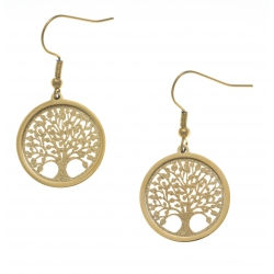Boucles d'oreille acier doré - arbre de vie - satiné - diamètre 2cm