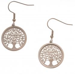 Boucles d'oreille acier rosé - arbre de vie - satiné - diamètre 2cm