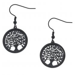 Boucles d'oreille acier noir - arbre de vie - satiné - diamètre 2cm