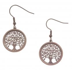 Boucles d'oreille acier café - arbre de vie - satiné - diamètre 2cm