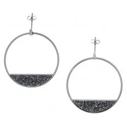 Boucles d'oreille acier - cristal rock - diamètre 4cm