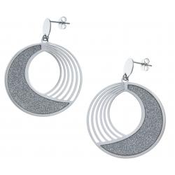 Boucles d'oreille acier - satiné - diamètre 4cm