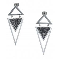 Boucles d'oreille acier - cristal rock