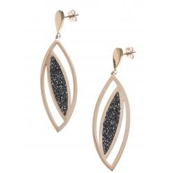 Boucles d'oreille acier rosé - cristal rock