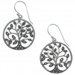 Boucles d'oreille argent rhodié 5g - arbre de vie - marcassites - diamètre 2cm