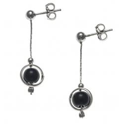 Boucles d'oreille argent rhodié 2,4g - pendante fil 2cm - boule onyx 6mm