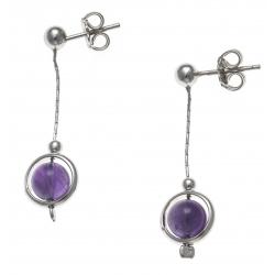 Boucles d'oreille argent rhodié 2,4g - pendante fil 2cm - boule améthyste 6mm