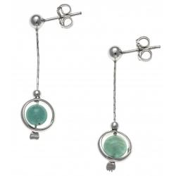 Boucles d'oreille argent rhodié 2,4g - pendante fil 2cm - boule amazonite 6mm