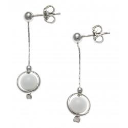 Boucles d'oreille argent rhodié 2,4g - pendante fil 2cm - boule agate blanche 6m