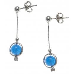 Boucles d'oreille argent rhodié 2,4g - pendante fil 2cm - boule agate bleue 6mm