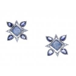 Boucles d'oreille argent rhodié 2,1g - lolite - quartz bleu - zircons