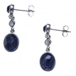 Boucles d'oreille argent rhodié 3,9g - aquamarine - sodalite - longueur 3cm