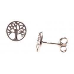 Boucles d'oreille argent rhodié 1,1g - rosé - arbre de vie - puce