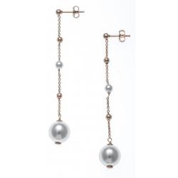 Boucles d'oreille argent rhodié 4,4g - rosé - perles swarovski - chaine 5cm
