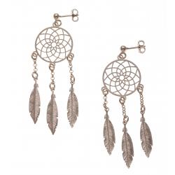 Boucles d'oreille argent rhodié 3,6g - rosé - 3 plumes de 2cm - chaine 1cm - dia