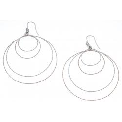 Boucles d'oreille argent rhodié 8,1g - 2 tons - rosé et rhodié - 4 ronds - diamè