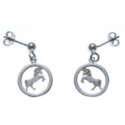 Boucles d'oreille argent rhodié 1,9g - licorne - diamètre 13mm