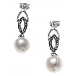 Boucles d'oreille argent rhodié 2g - marcassites - perles de culture